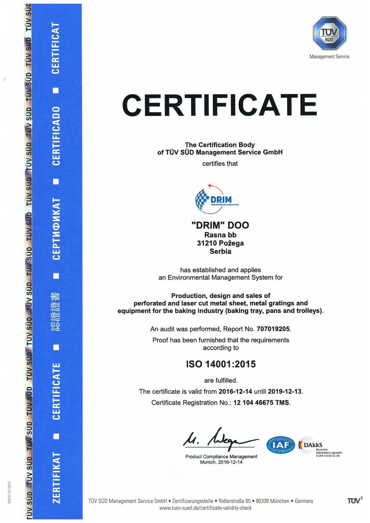 iso 1400:1 certificate